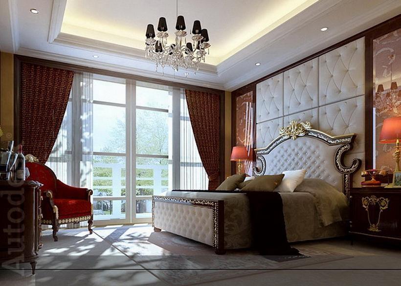 美式卧室床头软包装修效果图片