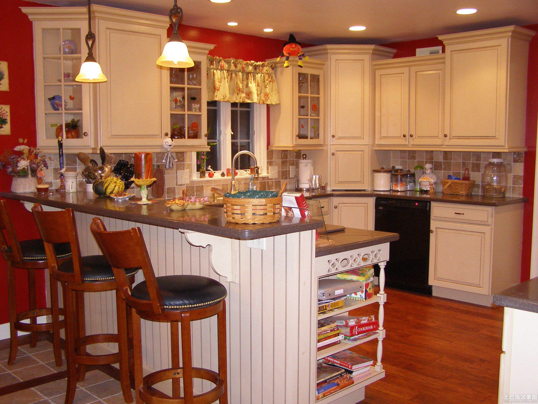 美式风格开放式厨房吧台装修效果图 第6张 家居图库 九正家居网图片