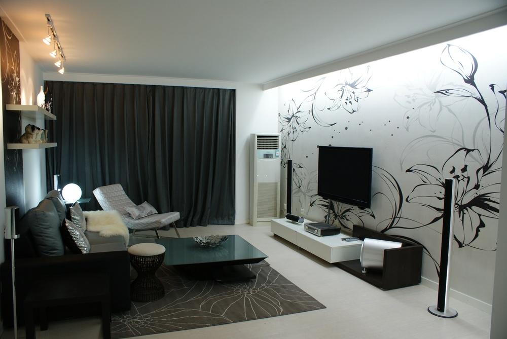 简约三居客厅电视背景墙墙绘装修效果图 第4张 九正家居装修效果图