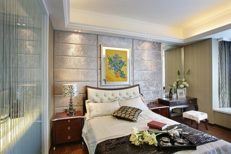 欧式卧室软包背景墙装修效果图