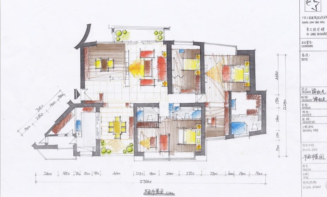 手绘别墅平面图大全装修效果图