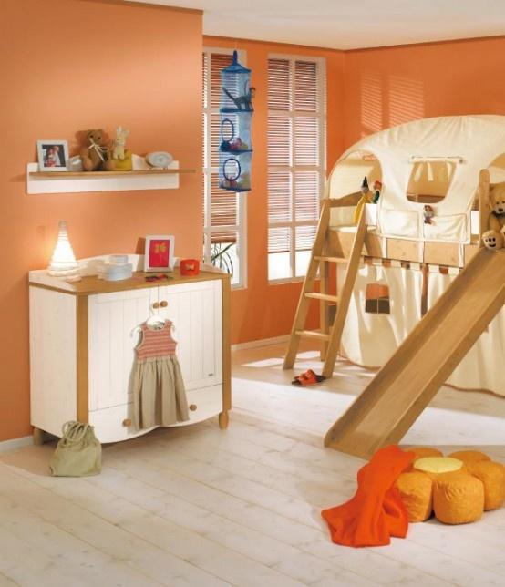 简约儿童卧室橙色背景墙布置效果图