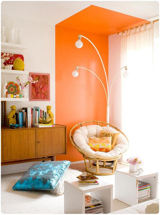 8平米小书房橙色背景墙装修效果图