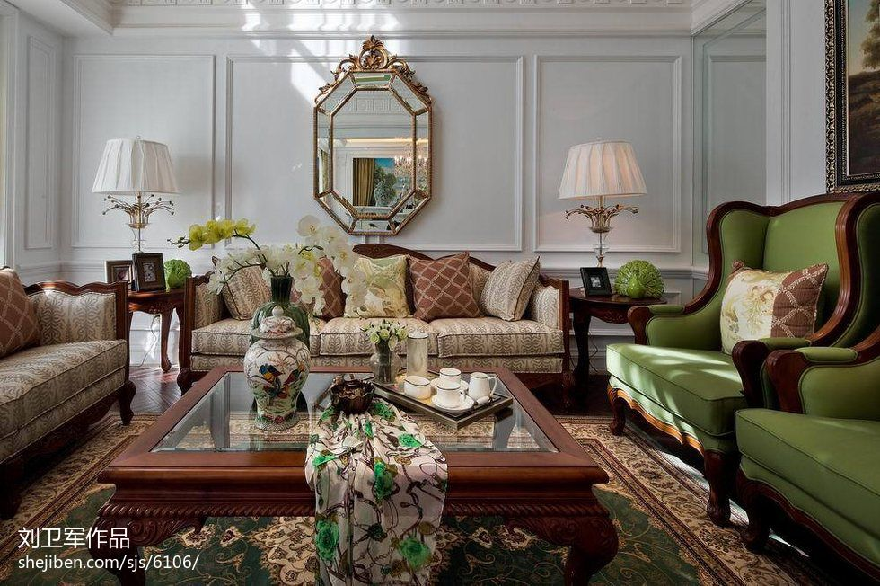 欧式客厅沙发摆设效果图装修效果图