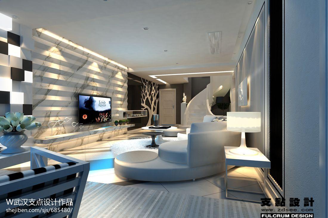 家居图库 别墅客厅电视背景墙装潢设计效果图 > 第13张