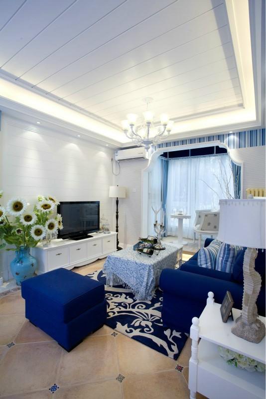 地中海风格客厅电视背景墙装修设计图
