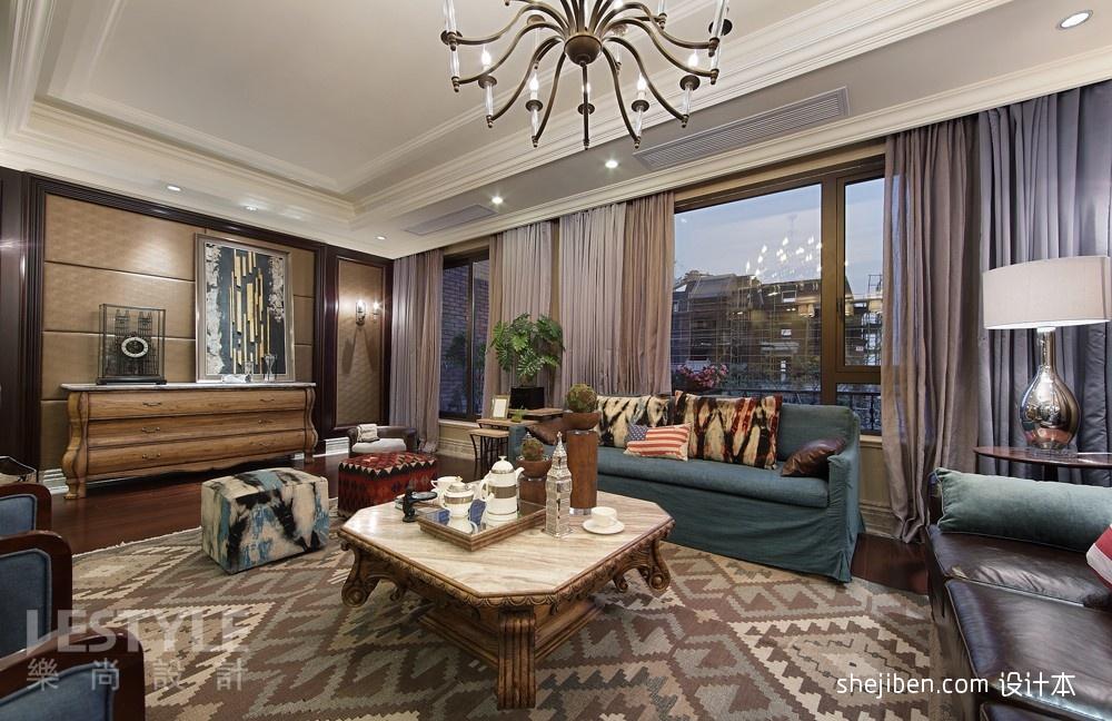 欧式客厅沙发窗帘一体效果图装修效果图