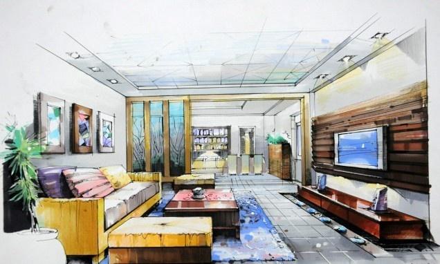 室内手绘客厅效果图片 (2/5)