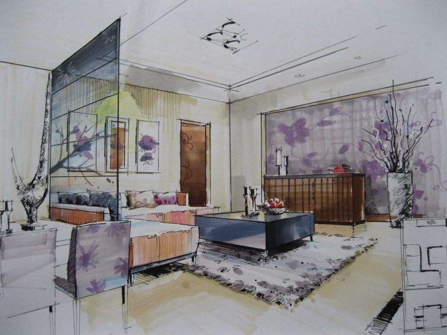 室内手绘客厅效果图装修效果图