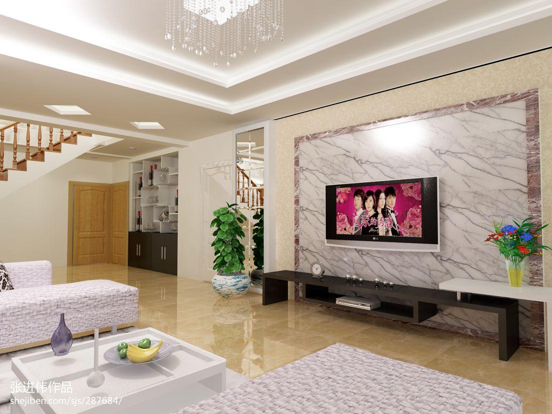复式客厅大理石电视背景墙效果图 (3/3)图片