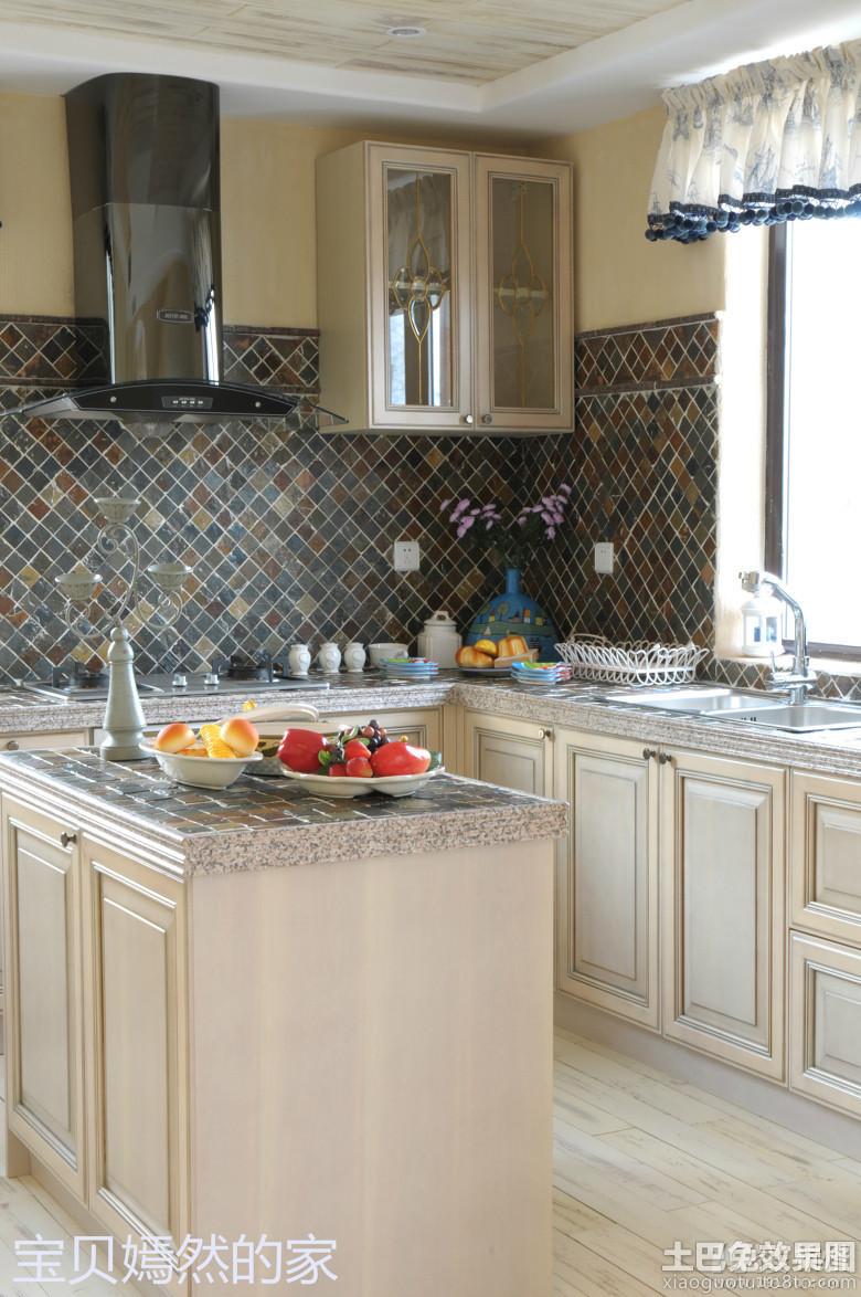 欧式风格厨房瓷砖墙面效果图装修效果图