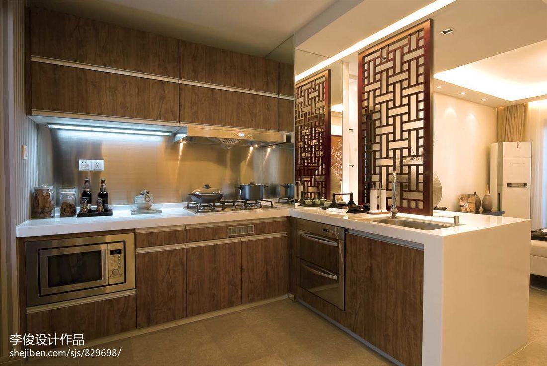 中式风格厨房整体实木橱柜效果图 (3/9)