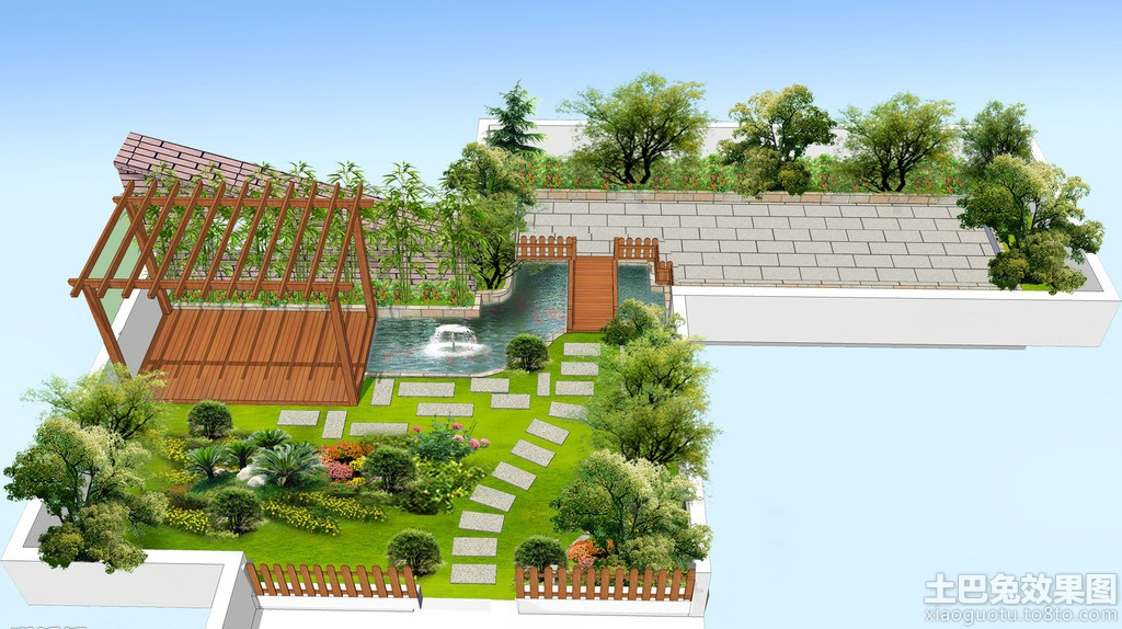 别墅屋顶花园设计图装修效果图