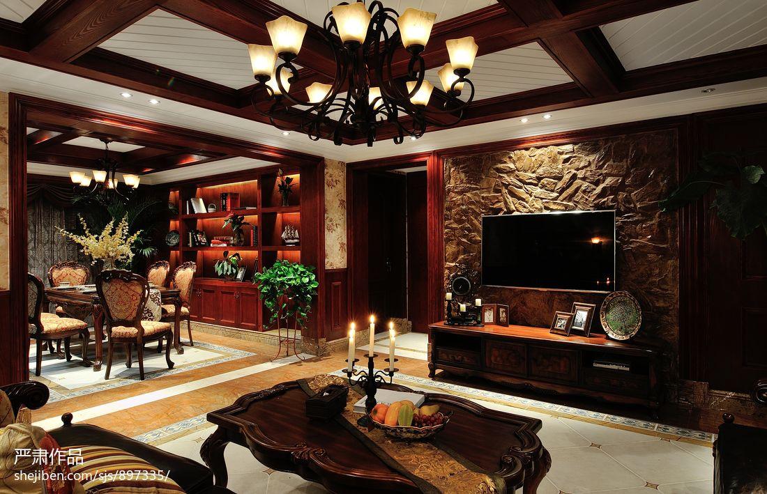 美式乡村风格客厅仿古砖电视背景墙装修效果图装修图