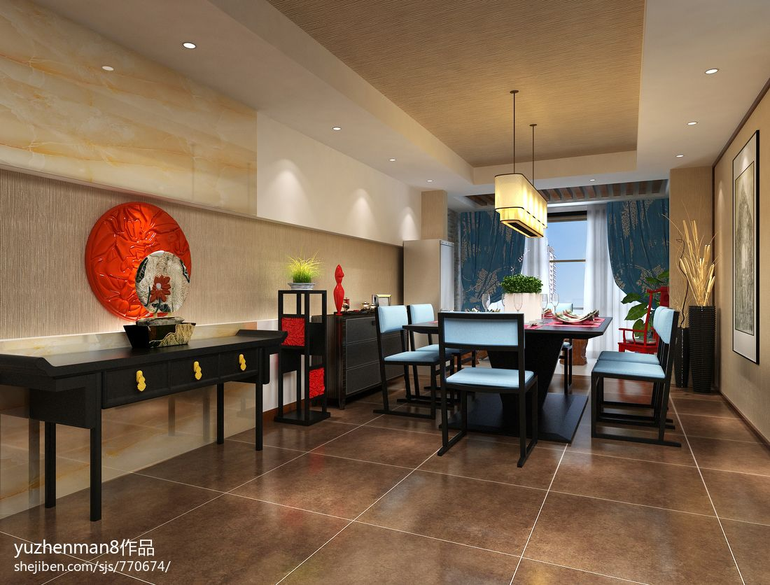 新中式风格餐厅吊顶设计 (2/5)图片
