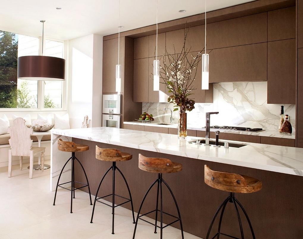 现代别墅开放式厨房吧台一体效果图装修效果图 第1张 家居图库 九正家居网图片
