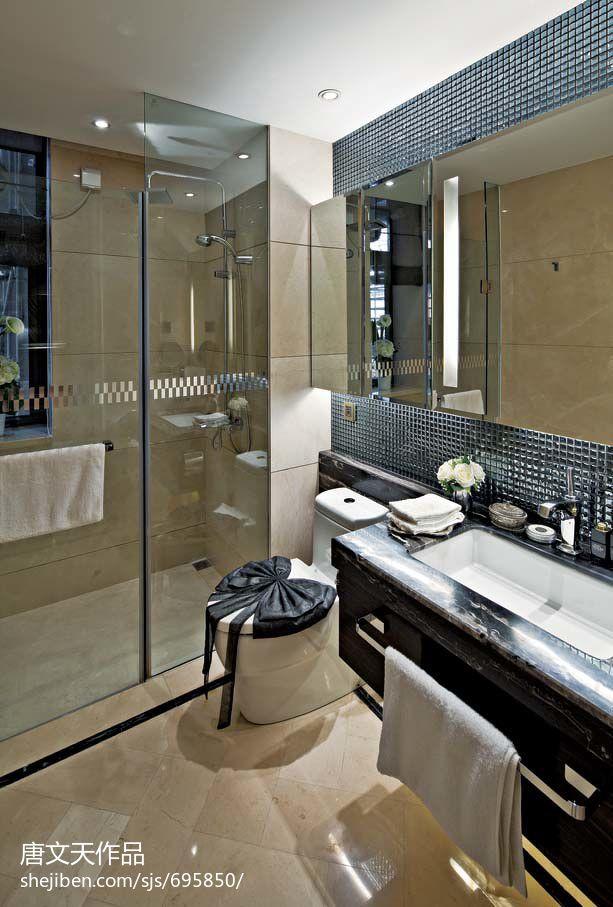 欧式现代风格卫生间洗手台洗手盆效果图装修效果图