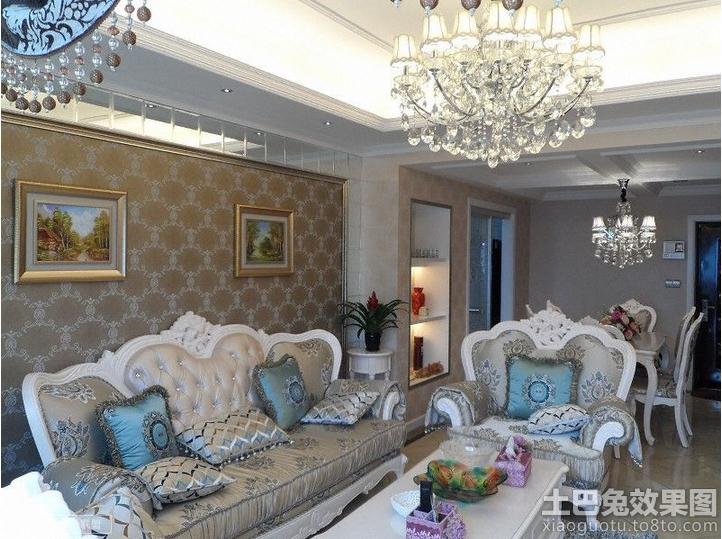 欧式沙发花纹背景墙纸贴图装修效果图