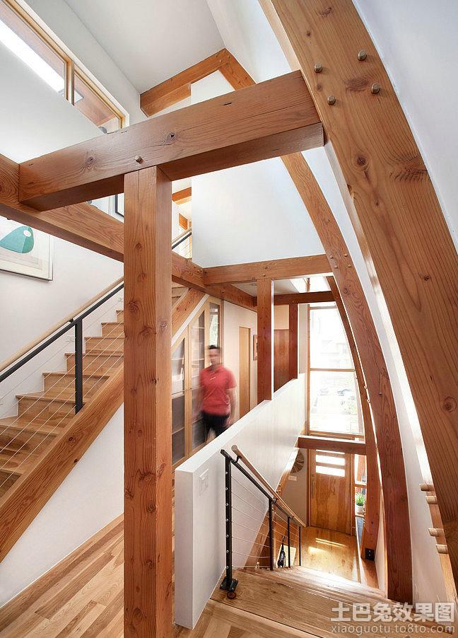 现代复式楼实木楼梯设计效果图 (1/9)图片