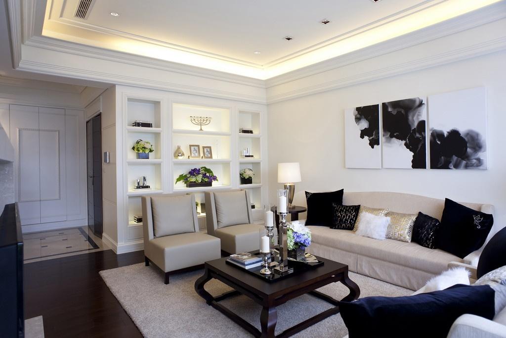 简约欧式90平米房屋客厅装修效果图高清图片