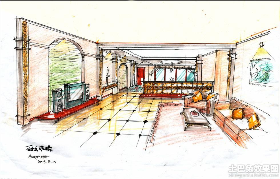 客厅手绘设计图装修效果图_第10张 - 家居图库 - 九正