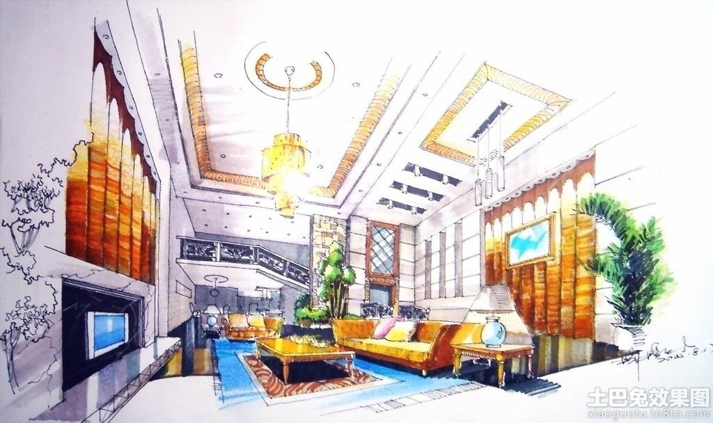 别墅客厅手绘设计图装修效果图