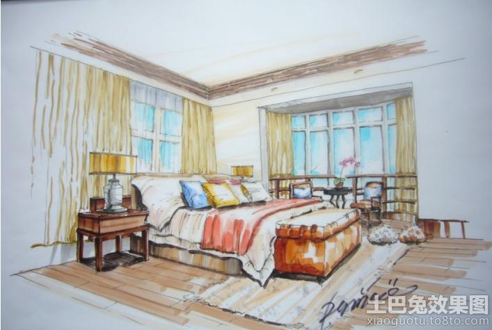 室内卧室手绘效果图装修效果图