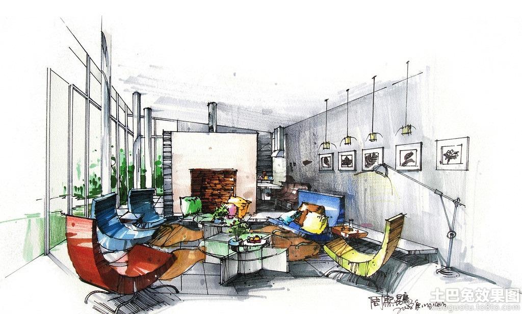 现代别墅客厅手绘效果图装修效果图_第5张 - 家居图库
