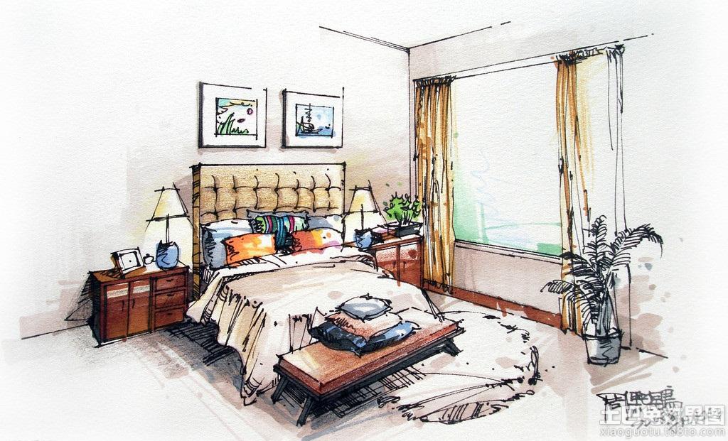 卧室室内设计手绘效果图 (4/10)