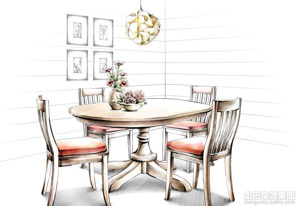 家庭餐厅手绘家具图片装修效果图