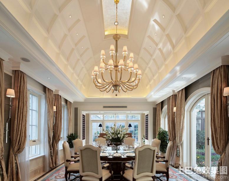 别墅欧式样板房餐厅吊顶装修效果图装修效果图