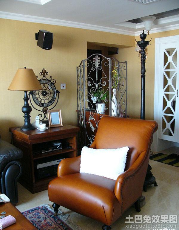 美式风格客厅铁艺屏风隔断效果图高清图片