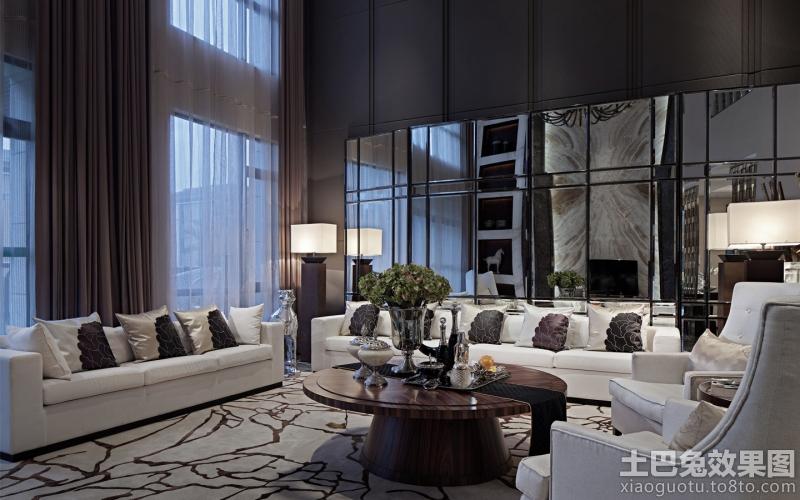 别墅样板房客厅沙发背景墙效果图