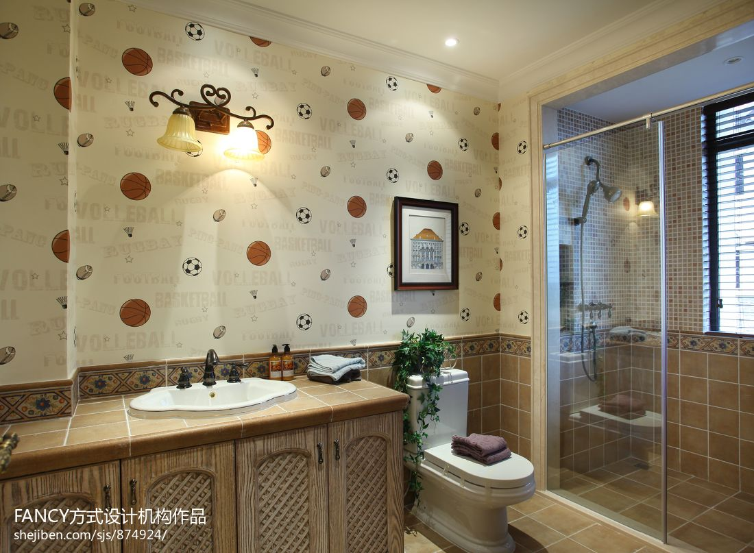 美式别墅卫生间洗手台实木柜子效果图装修效果图_第10