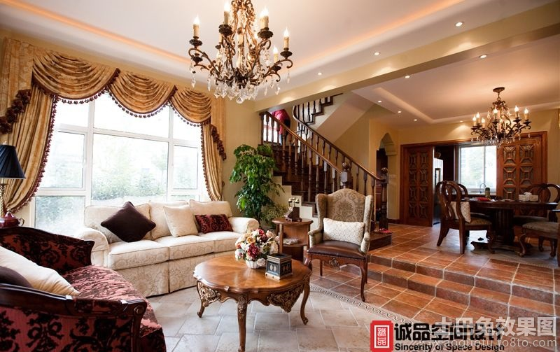 豪华美式别墅客厅装修效果图