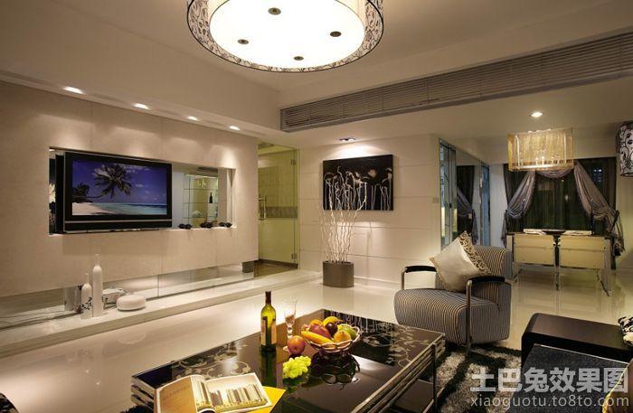 现代客厅嵌入式电视背景墙装修效果图 (3/8)图片