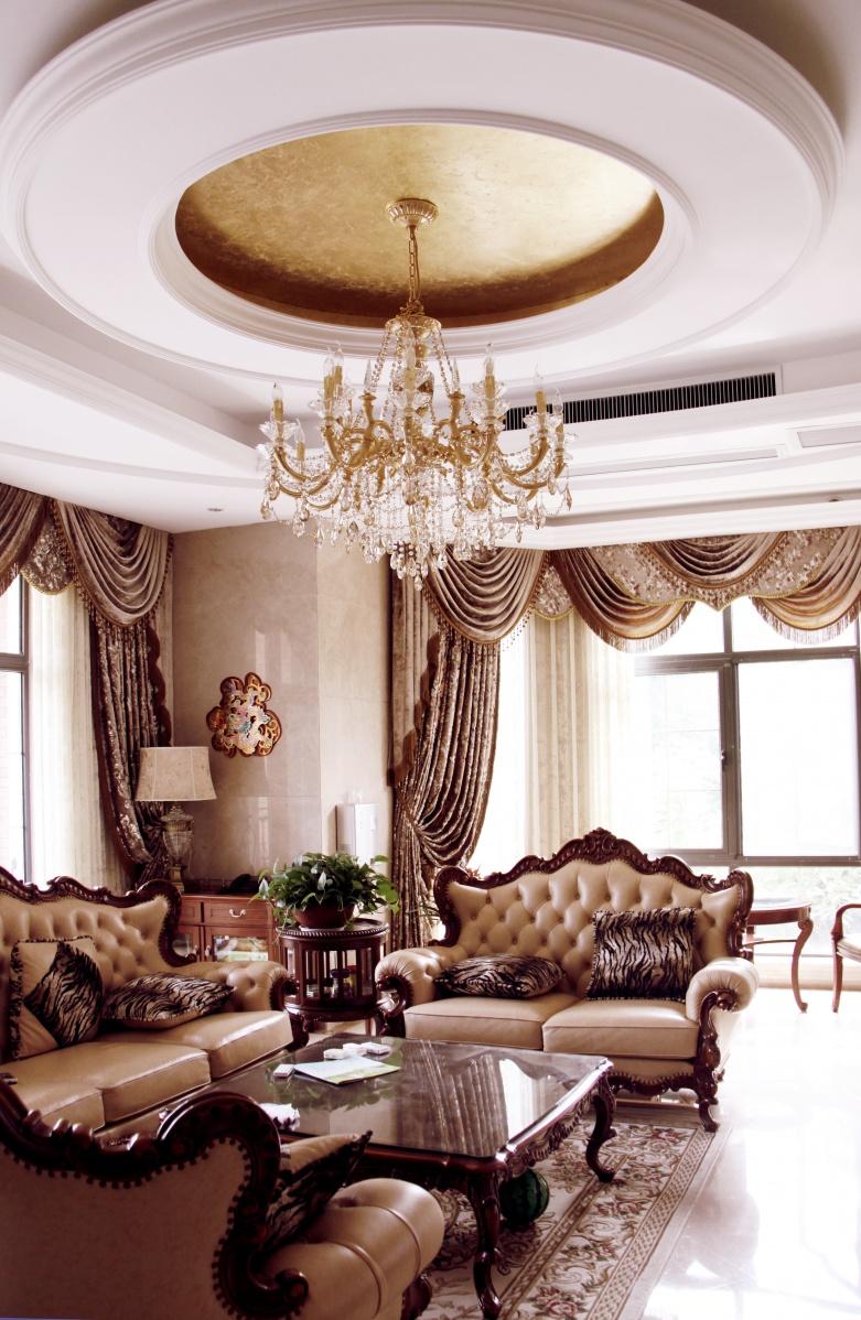美式客厅圆形吊顶装修效果图片装修效果图