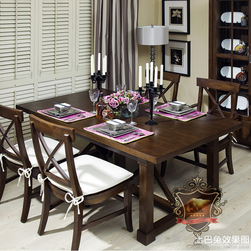 餐厅装修黑胡桃木家具效果图 第2张 九正家居装修效果图图片