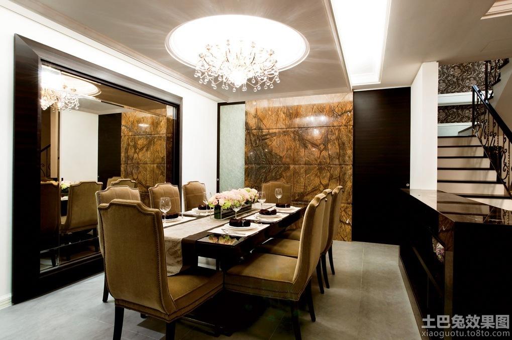 欧式别墅餐厅圆形吊顶设计效果图装修效果图