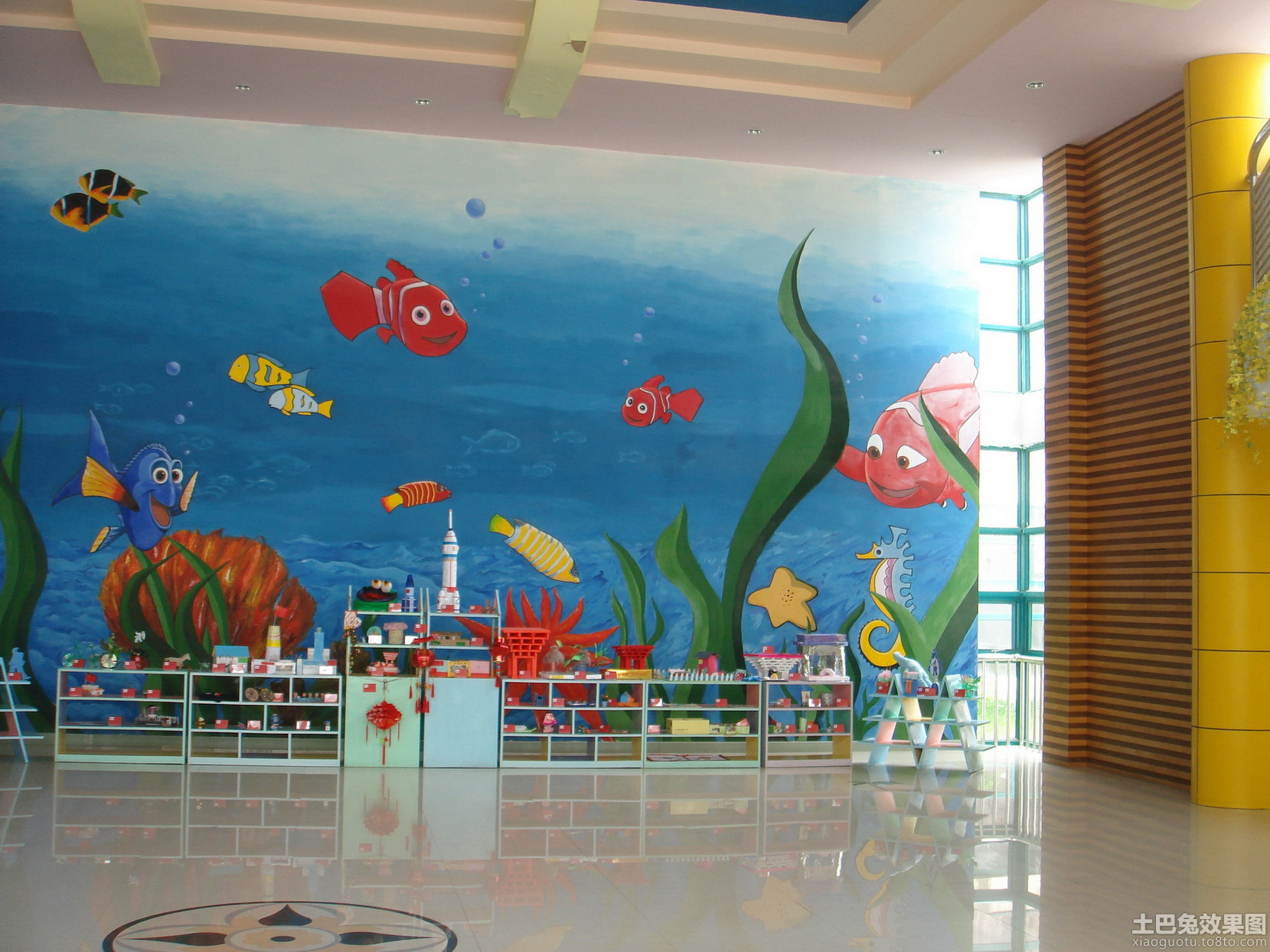 幼儿园室内设计墙面彩绘效果图 (2/8)