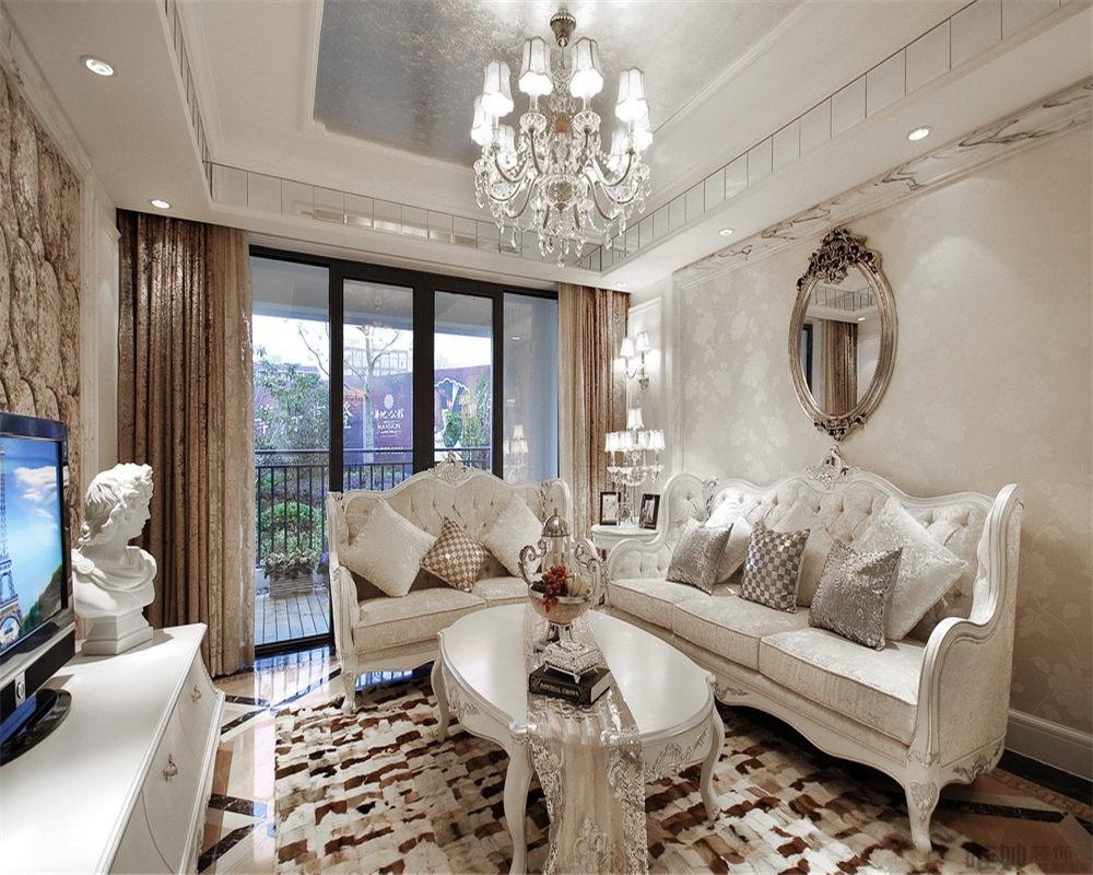欧式风格80平米两室一厅装修效果图高清图片