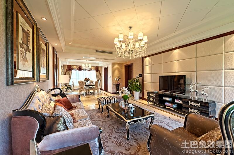 欧式100平米二居客厅硬包背景墙效果图装修效果图 第4张 家居图库 九高清图片