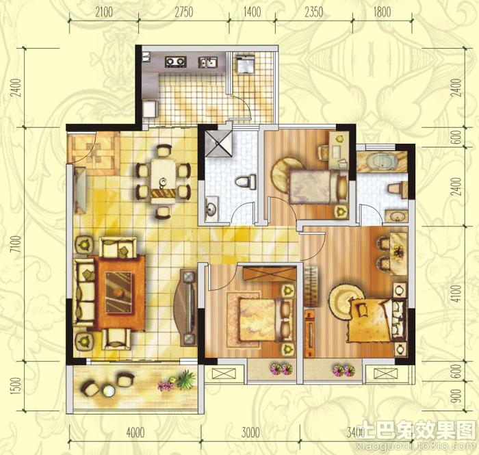 三居室房屋设计平面图欣赏_第4张 - 九正家居装修效果