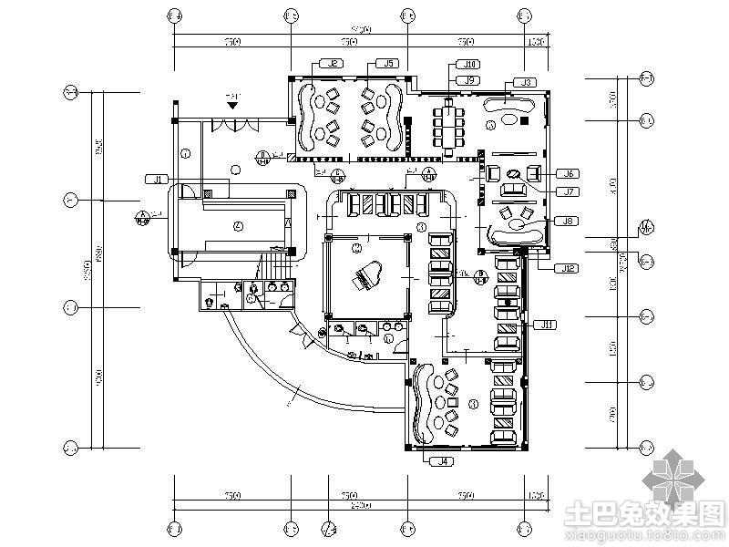 咖啡厅平面图装修效果图 第1张 家居图库 九正家居网