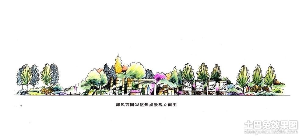 公园景观手绘立面图图片装修效果图