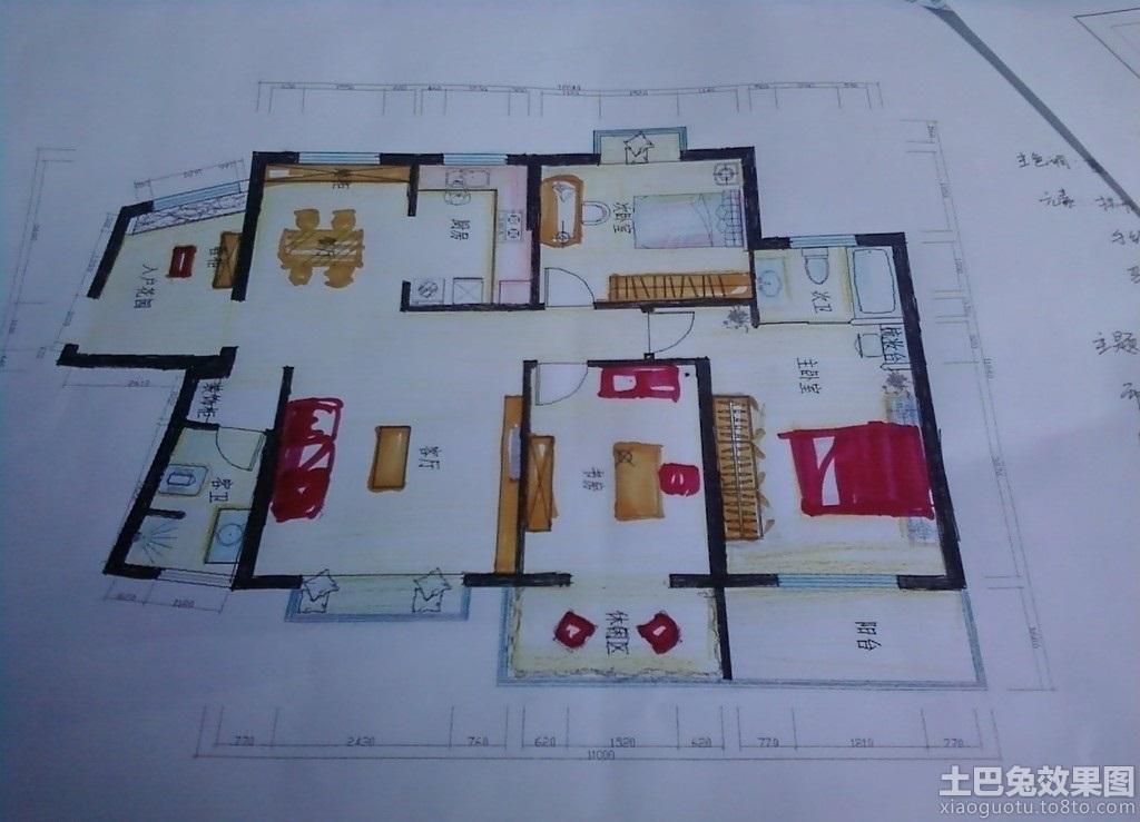 手绘室内设计平面图装修效果图