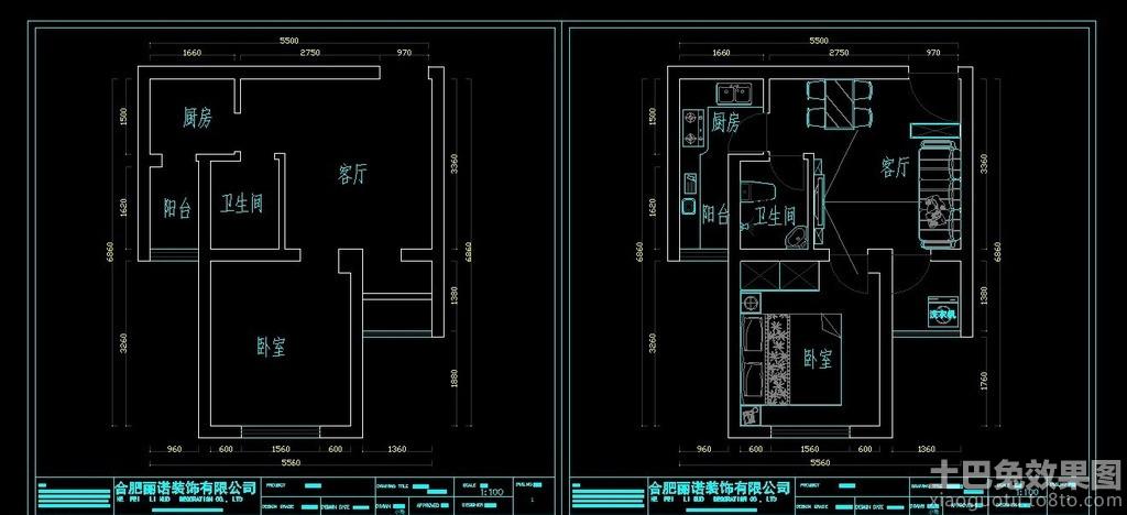 一室一厅cad平面布置图装修效果图 第8张 家居图库 九正家居网