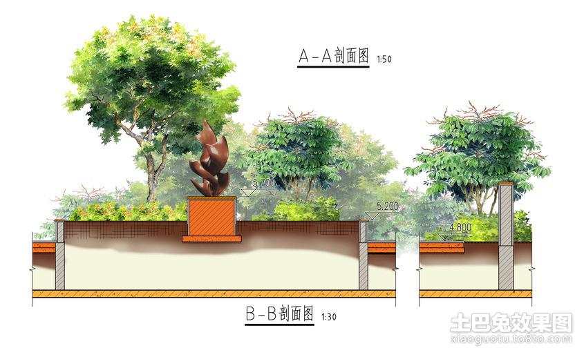 广场景观手绘剖面图装修效果图