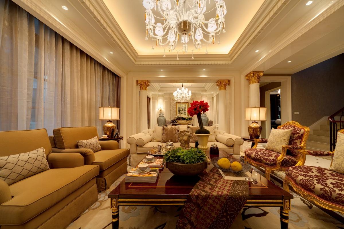 法式别墅客厅沙发茶几图片装修效果图