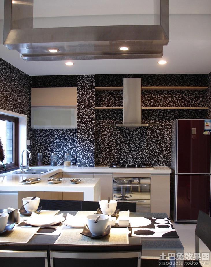 开放式厨房花纹壁纸图片装修效果图_第2张 - 家居图库图片